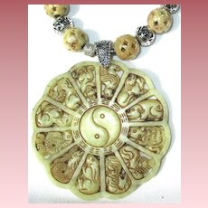 Detailed Carved Agate Zodiac Necklace