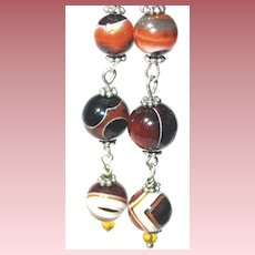 3-Part Articulated Agate Earrings
