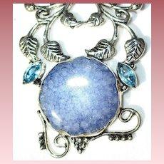Beautifully Framed Blue Druzy Pendant