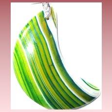 Lemon-Lime Striped Agate Pendant