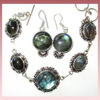 Labradorite Bracelet/Earring Set