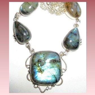 5 Labradorite Stone Necklace
