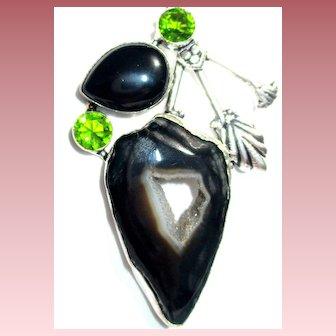 Black Onyx Druzy Pendant