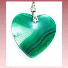 Green Striped Druzy Agate Heart