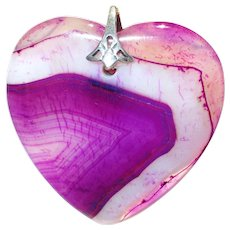 Purple Striped Agate Druzy Heart Pendant