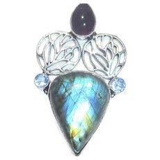 Labradorite/Amethyst/Blue Topaz Pendant