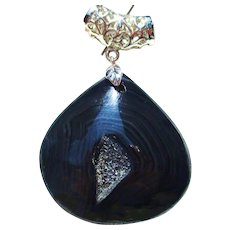 Black Agate/Onyx Drusy Pendant