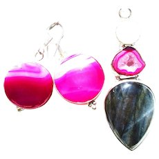 Labradorite/Pink Druzy Pendant with Matching Agate Earrings