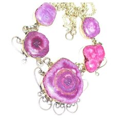 Purple Solar Quartz Druzy Necklace