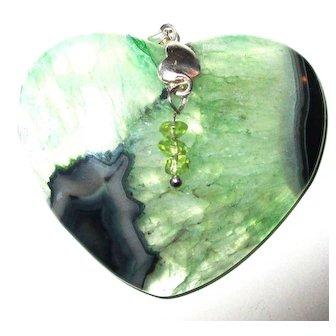 Green Druzy Agate Heart/Peridot Gemstones