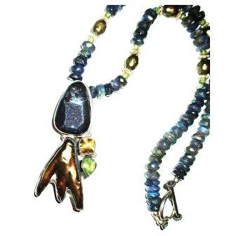 Vintage Striking Blue Crystallized Pendant with Golden Biwa Pearl/Labradorite Bead Necklace