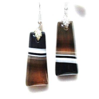 Botswana Striped Agate Earrings