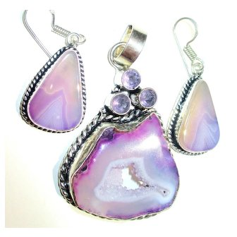 Amethyst Druzy Pendant/Matching Earrings