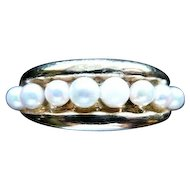 Victorian 14K Gold Band W/ Inset Pearls