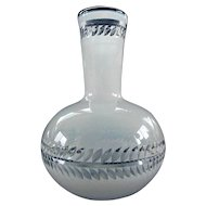 Vintage Hand Blown Cased Opaque Glass Vase w/ Cutouts