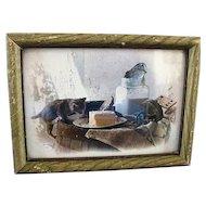 Framed John Wagner Large Photo Card/Kitten & Butter