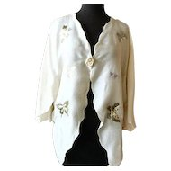 Elegant Hand Embroidered Ivory Silk Bed Jacket