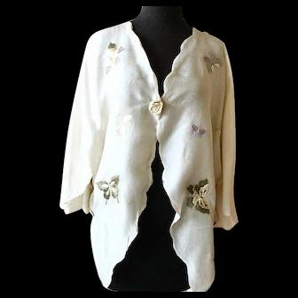 Elegant Hand Embroidered Ivory Silk Bed Jacket