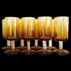 Set of Eight Hand Blown Amber Wine Glasses W/ Air Twist Stem - Red Tag Sale Item
