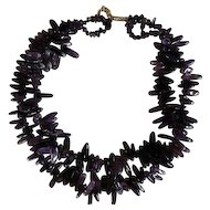 Double Strand Natural Amethyst Polished Nugget Necklace