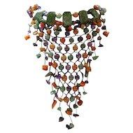 Hand Tied Multi-Colored Jade Bead Bib Necklace