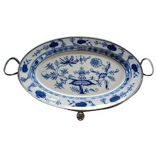 Antique Meissen Blue Onion Porcelain & Pewter Oval Warming Tray