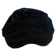 Vintage Navy Blue Velvet Hat Topper