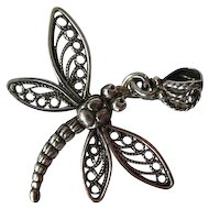Pretty Filigree Sterling Silver Dragonfly Pendant