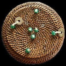 Hand Woven CHinese Sewing basket w/ Peking Glass Beads & Chinese Coins & Odd  Buttons