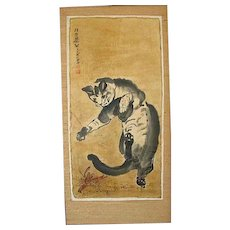 Original Ink Painting  /  Cat Versus Lobster