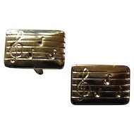 Vintage Silver Tone Cufflinks w/ Musical Notation