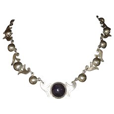Pre-Eagle 980 Sterling Silver & Amethyst Necklace Marked Taxco