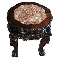 Carved Japanese Rosewood Stand W/ Inset Scalloped Rose Marble
