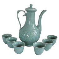 Vintage Chinese Celadon Ceramic Tea Pot & Cups