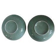 Vintage Two Large Chinese Celadon Ceramic Serving Bowls
