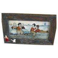 Vintage Framed Lithography Of Dutch Children On A Dike