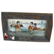 Vintage Framed Lithography Of Dutch Children On A Dike