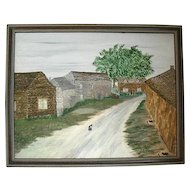 Unsigned Oil Presenting A Country Village Road, Houses & Three Cats