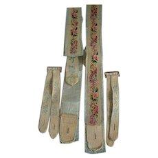 19TH Century Gentleman's Silk Backed Needlepoint Canvas  Suspenders/Braces