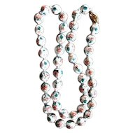 Lovely Chinese Porcelain Hand Painted Individually Knotted Bead Necklace
