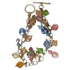 Sterling Silver Lampwork Bead & Pastel Crystals Bracelet