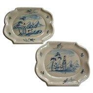 Two Antique Tin Glazed Metalware Platters