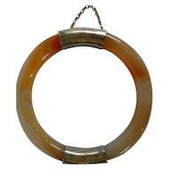 Vintage Chinese Export Hinged Agate Bangle Bracelet