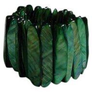 Vintage Green Mother-of-Pearl Stick Stretch Bracelet