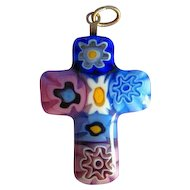 Vintage Murano Millefiore Cross Pendant