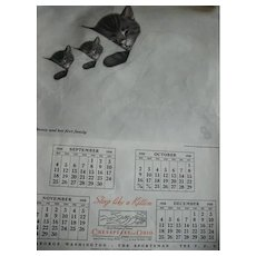 1937 Chesapeake & Ohio Railway Annual Wall Calender / Featuring Chessie and Her Family