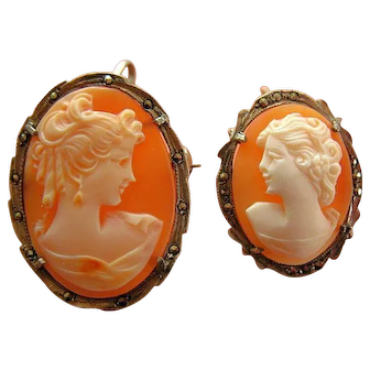 Two Shell Cameo Brooch/Pendant Italian 800 Silver & Marcasite Frames