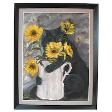 Framed Oil Painting w/ Black Cat, Flowers & Bees:  Signed