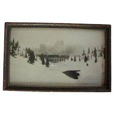 Marvelous Black & White Framed Photograph / Locomotives on Trestle of Glacier National Park