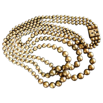 Art Deco Multi-Strand Graduated Brass Bead Choker